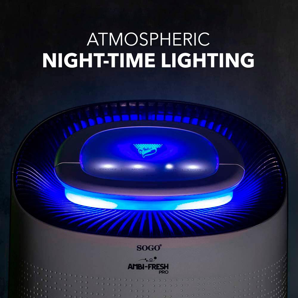 SOGO Air Purifier Night-time lighting